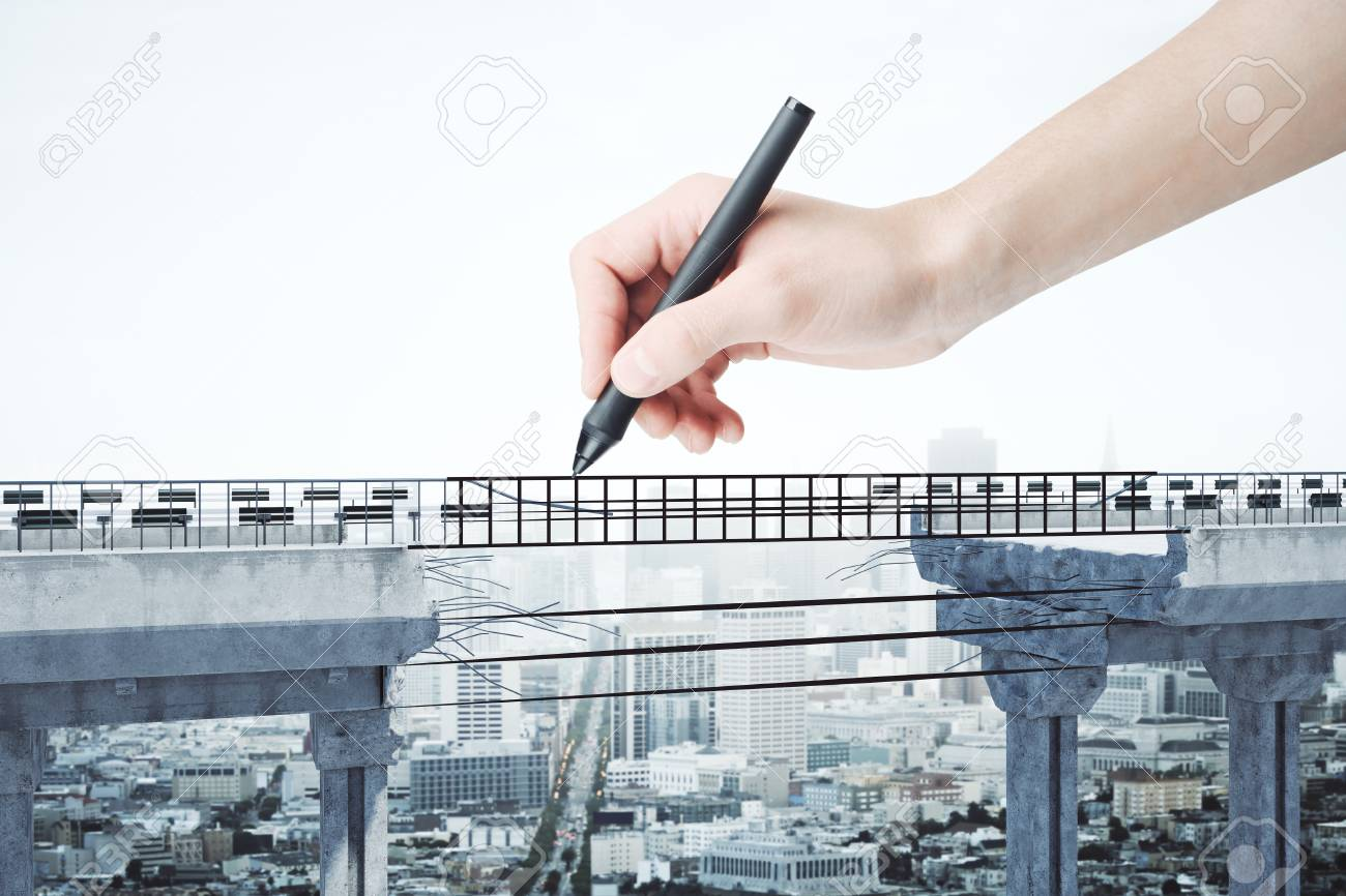 Hand drawing abstract bridge with gap on city background. Challenge and determination concept. 3D Rendering - 90415960