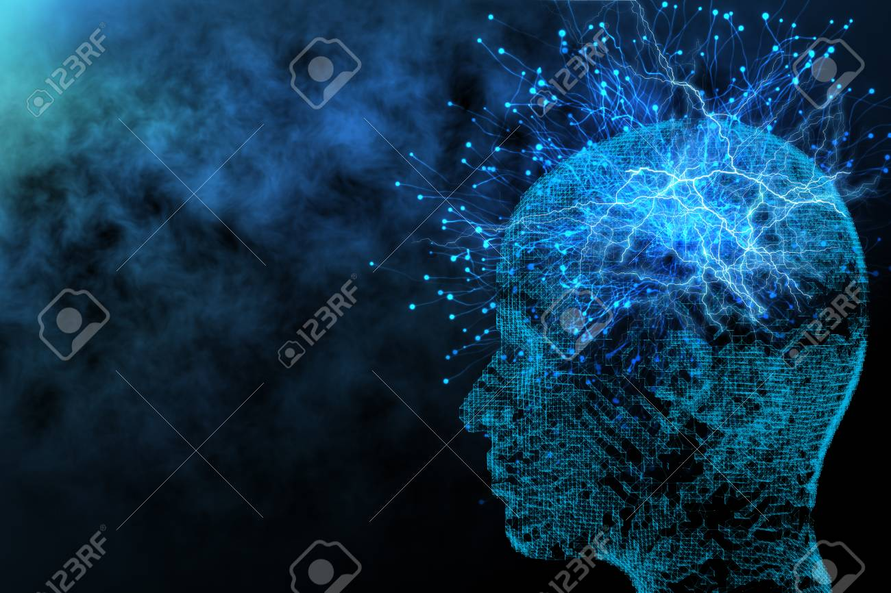 Abstract glowing polygonal head background with neurons. Artificial intelligence and network concept. 3D Rendering - 89642458