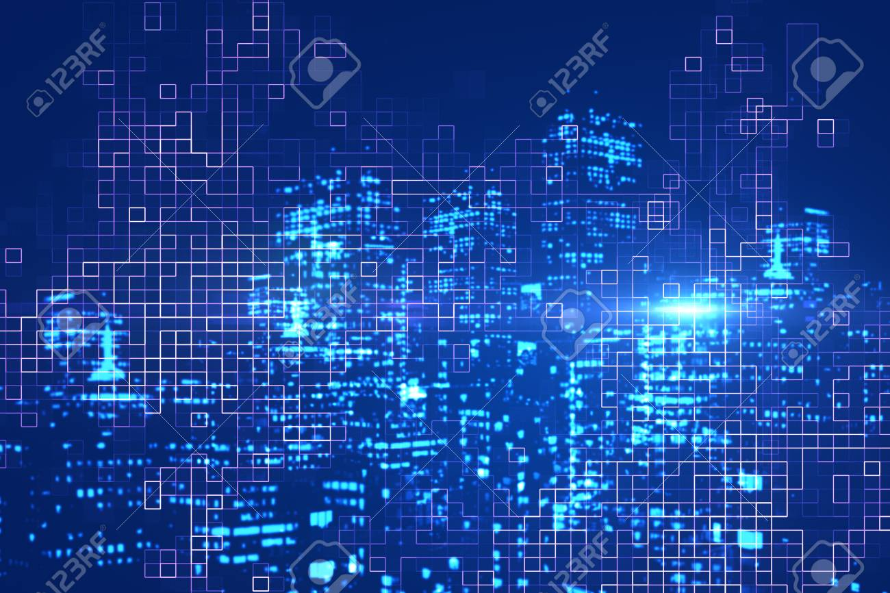 Abstract digital glowing blue city background. Urban innovation concept. Double exposure - 90170725