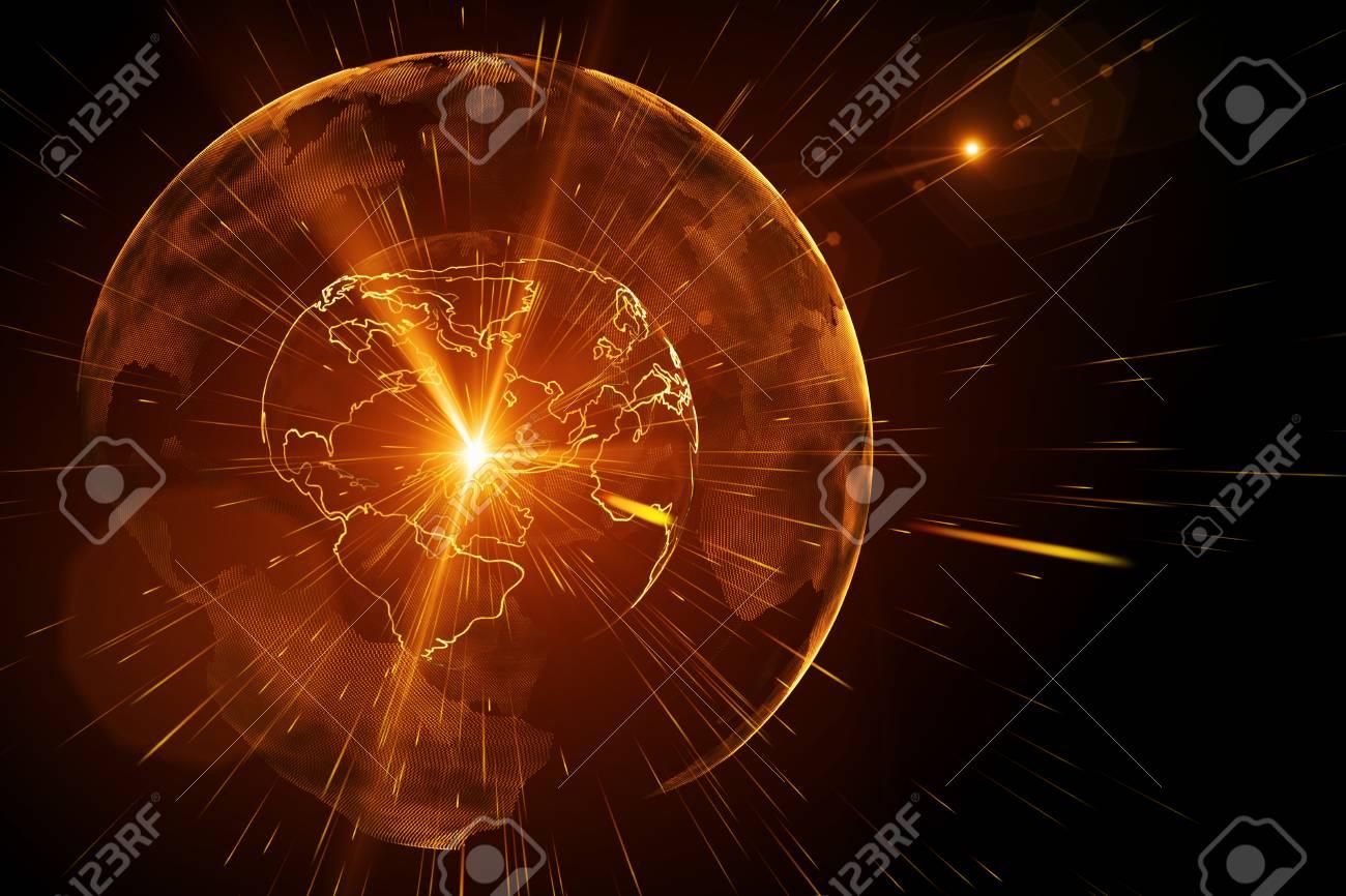 Creative Glowing Digital Globe Wallpaper Global Business And
