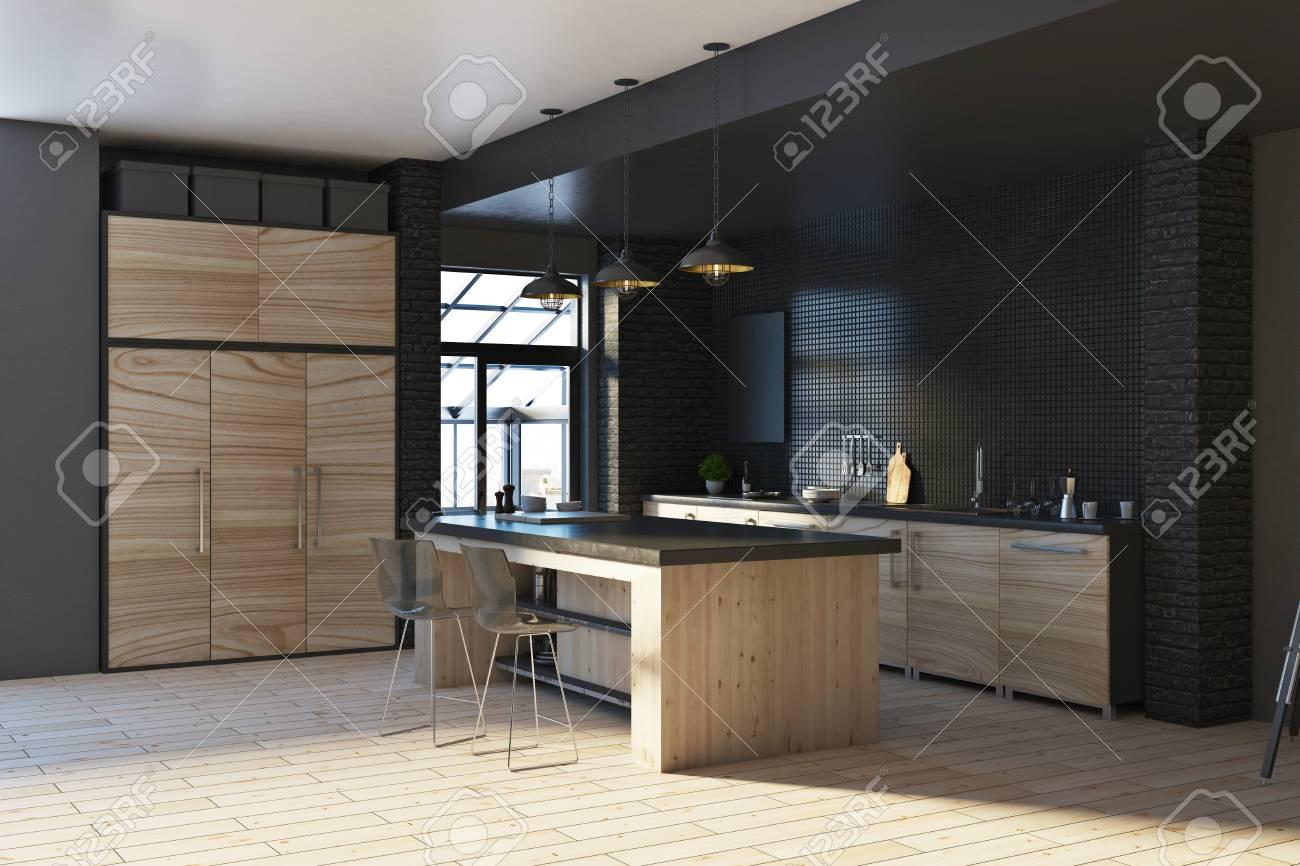Contemporary Loft Black Kitchen Studio Inteior With Furniture