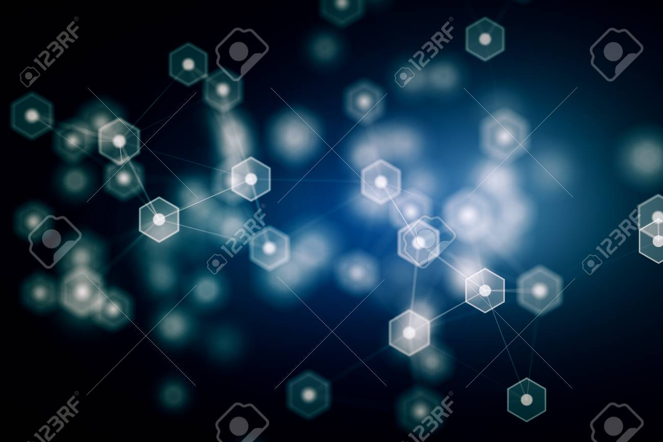 Creative Glowing Blurry Molecule Wallpaper Medicine And Innovation Concept 3D Rendering Stock Photo