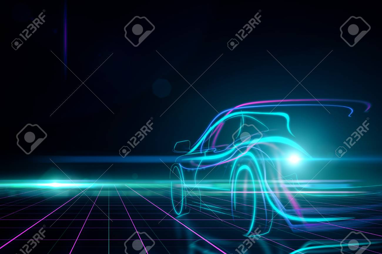 Creative glowing digital car on black background. Transport and design concept. 3D Rendering - 90457495