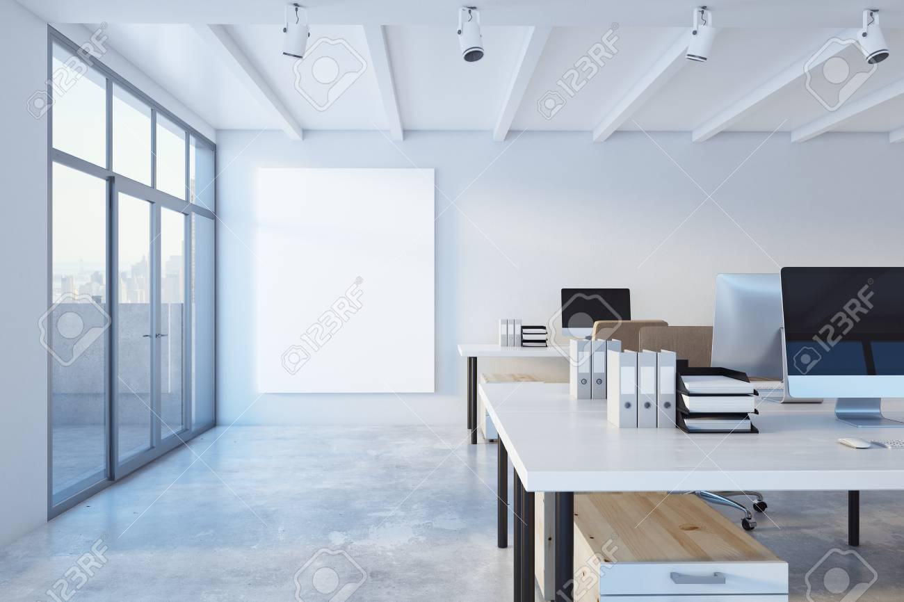 Modern concrete coworking office interior with city view, daylight and empty banner. Mock up, 3D Rendering - 90457441