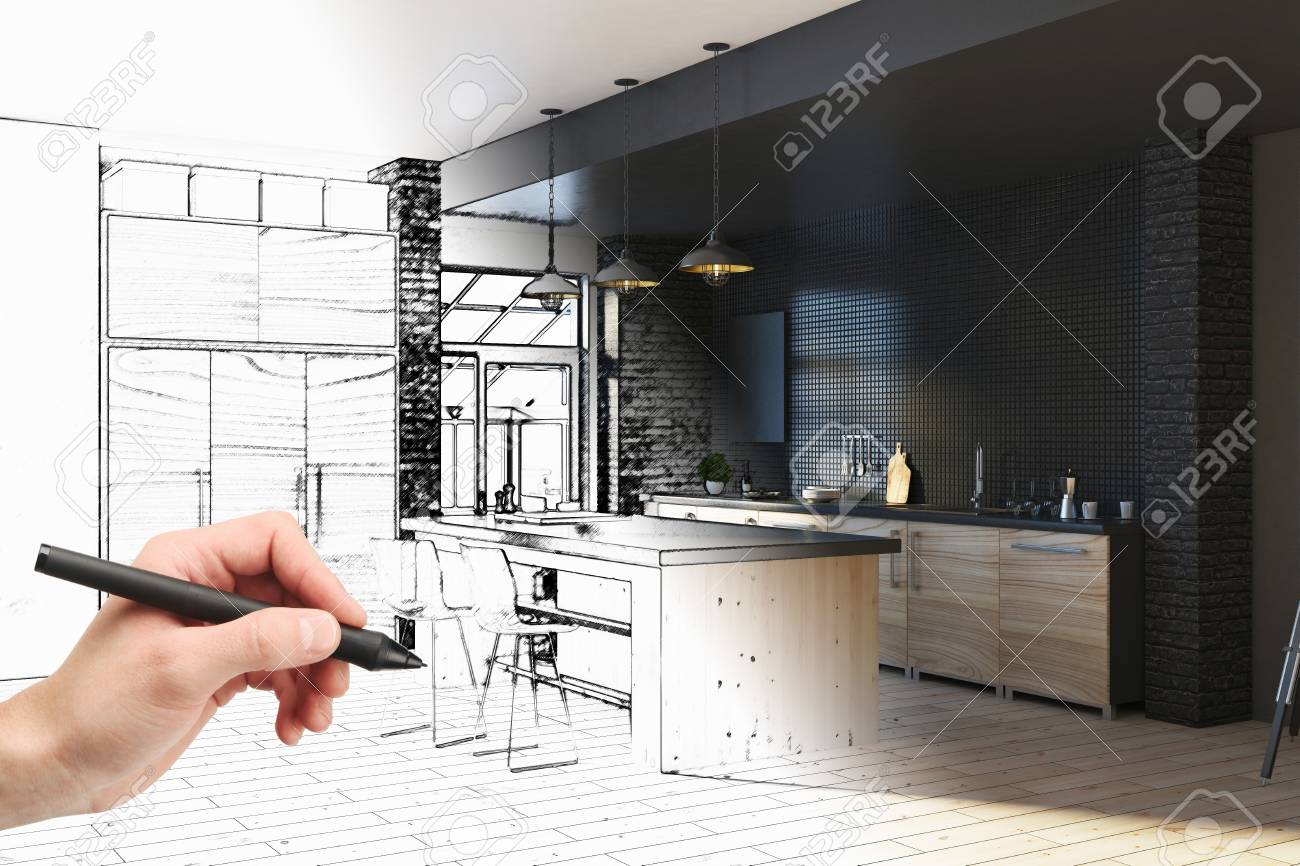 Hand drawing unfinished project of modern kitchen interior. Engineering and architecture concept. 3D Rendering - 90451919