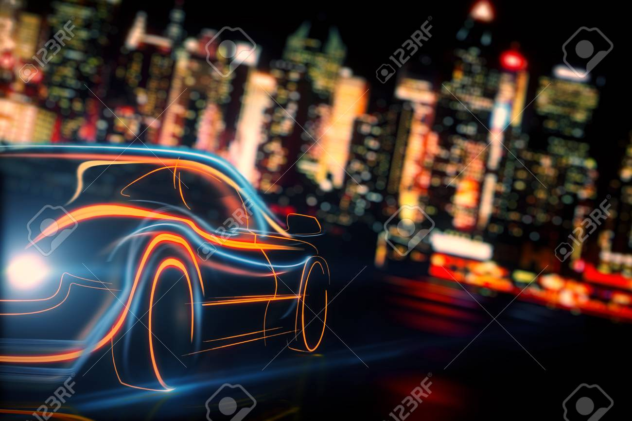 Creative glowing digital car on blurry night city background. Transport and vehicle concept. 3D Rendering - 90451847