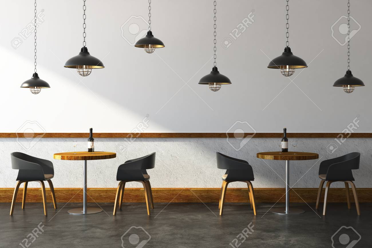 new styles 838a4 bccdc Contemporary cafe interior with furniture and ceiling lamps...