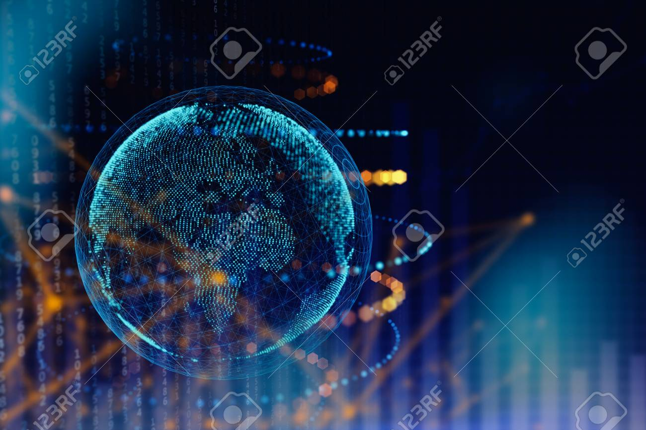 Abstract polygonal globe on blue background. Global business concept. 3D Rendering - 91524643
