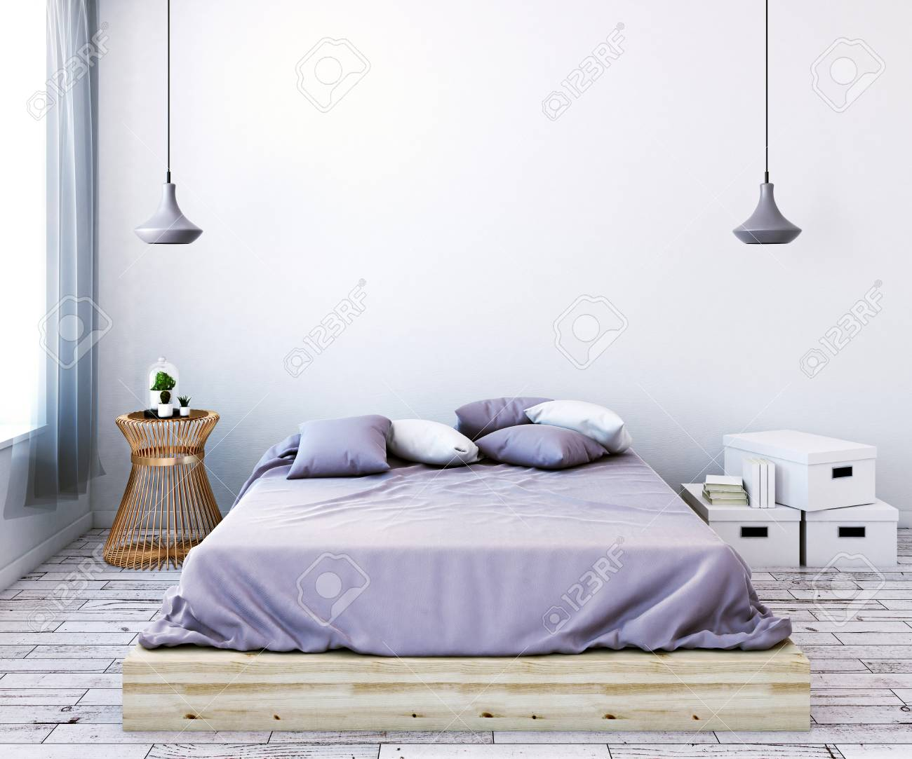 womens bedroom furniture. Front View Of Modern Light Female Bedroom With Empty Wall, Furniture And Window Curtain Womens O