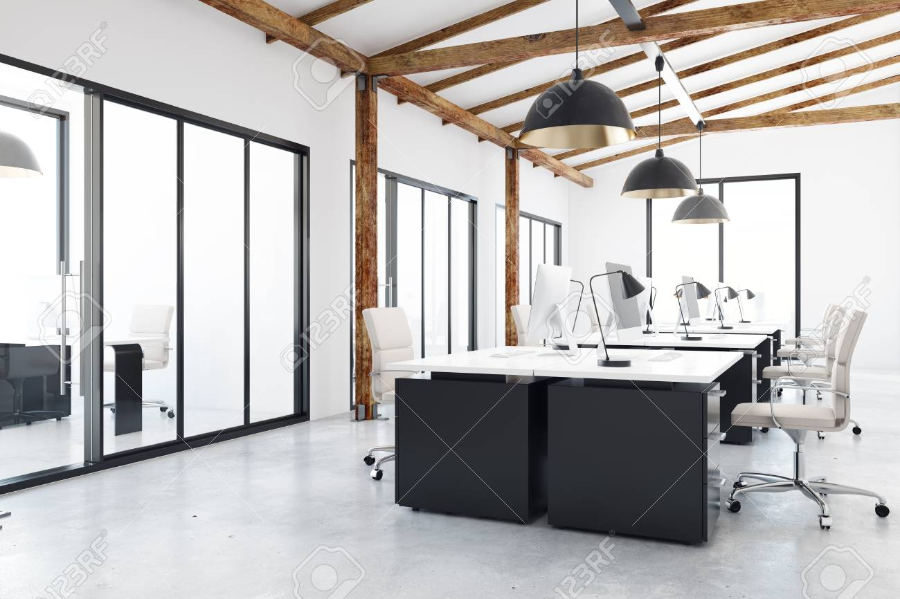 light coworking office interior with city view design and style