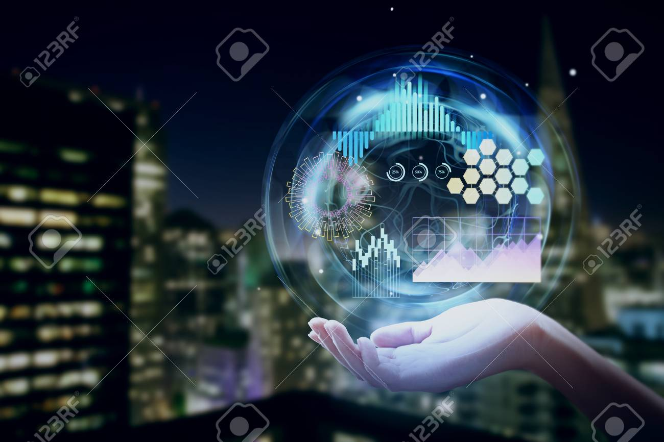 Close up of hand holding digital business interface on abstract blurry night city background. Communication and network concept. Double exposure - 93277546