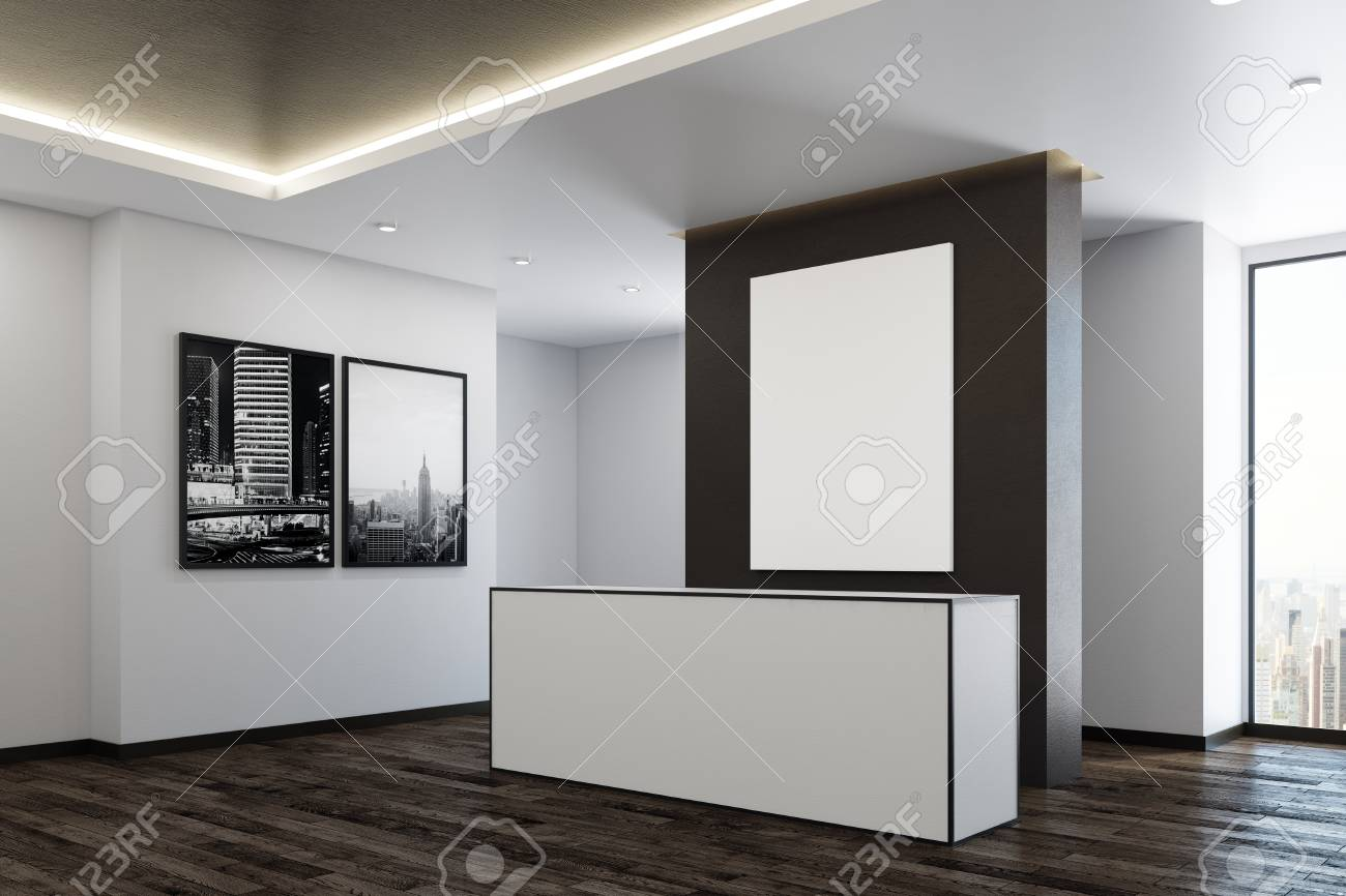 office reception interior. Luxury Office Reception Interior With City View, Daylight And Empty Poster. Side. Mock S