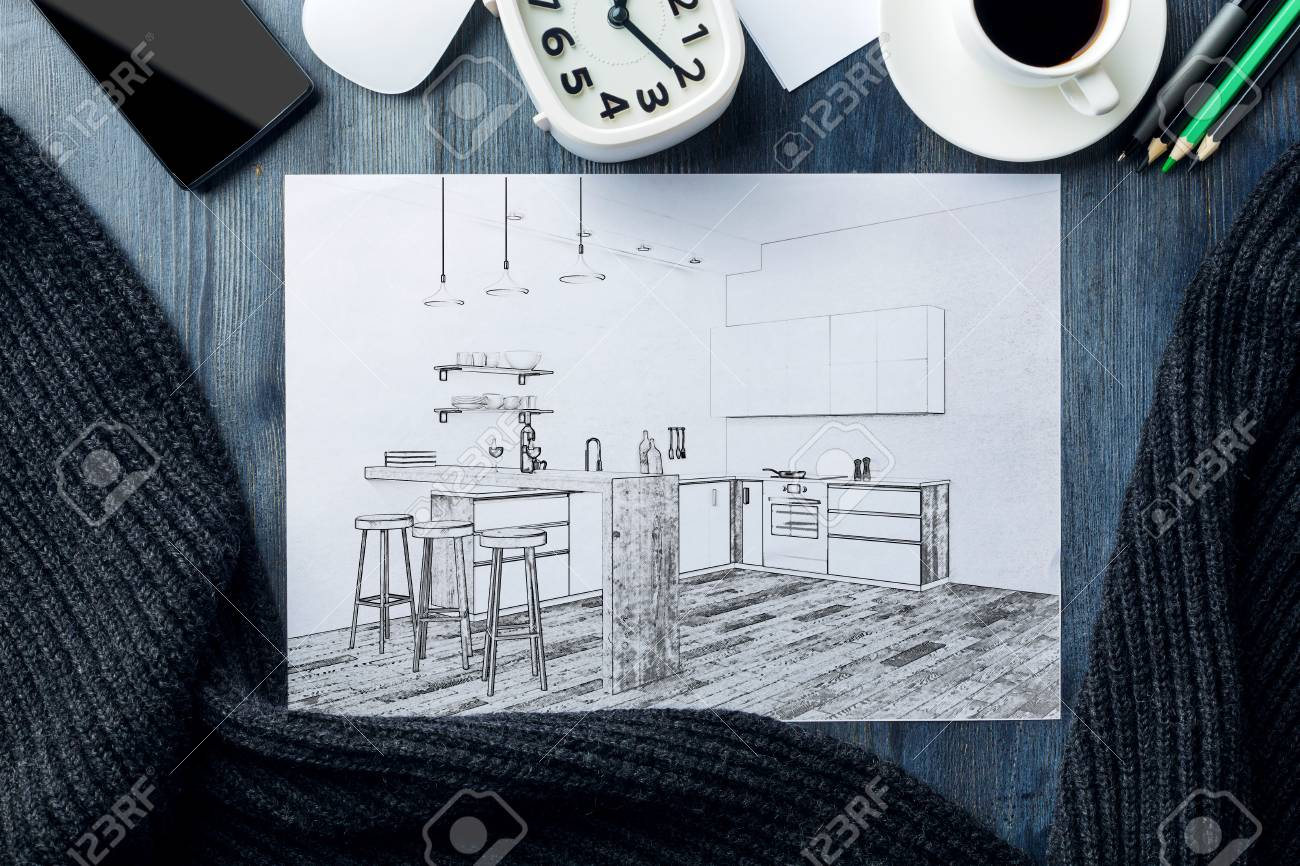 Top View Of Desktop Workplace With Creative Kitchen Interior.. Stock ...