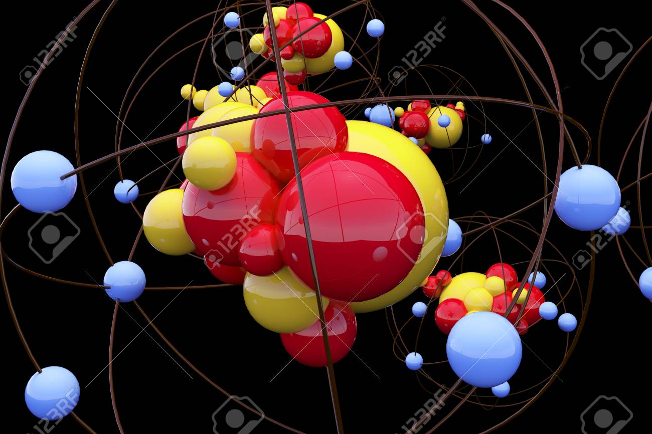 Creative Atom Wallpaper Medicine And Design Concept 3D Rendering Stock Photo