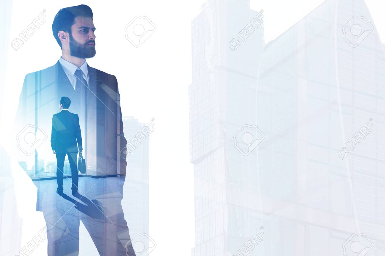 Businessman On Abstract Office City Workplace Background Success Stock Photo Picture And Royalty Free Image Image 95250426