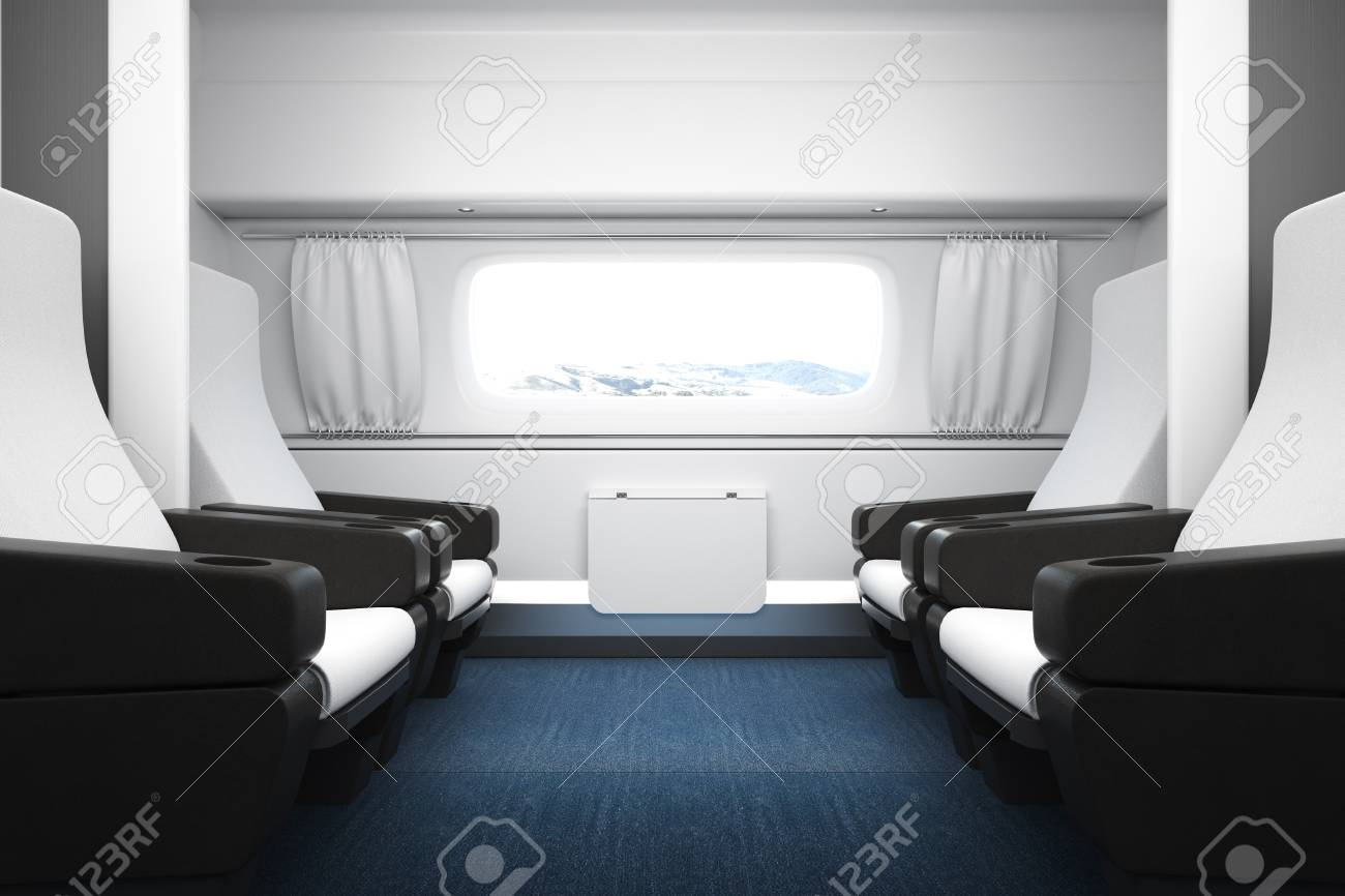 Bright luxury train interior with white leather seats and copy