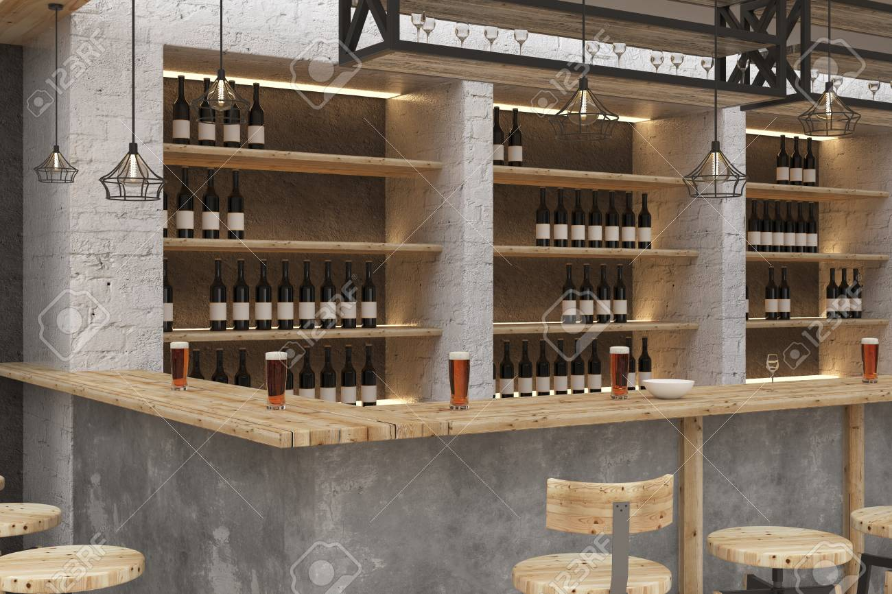 Contemporary Bar Or Pub Interior. Design And Lifestyle Concept ...