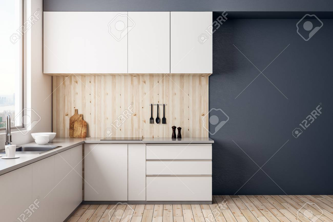 Modern kitchen room interior with copy space on wall and daylight. Mock up, 3D Rendering - 95654977
