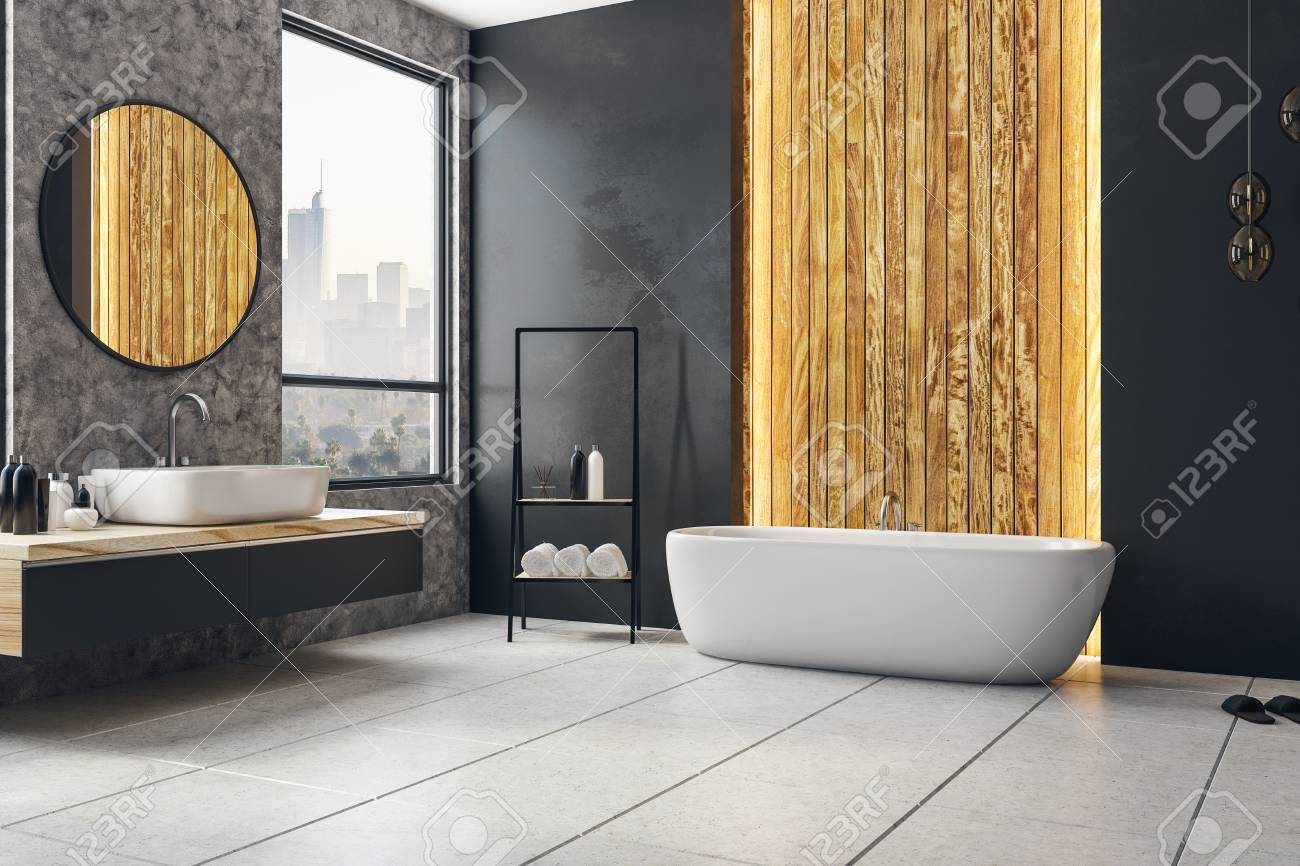 Dark Modern Bathroom Interior With City View And Blank Poster Stock Photo Picture And Royalty Free Image Image 95654980