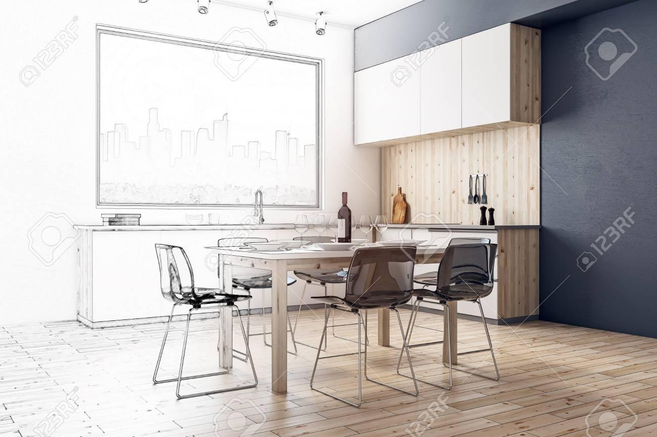 Creative modern kitchen interior sketch. Design and architecture concept. 3D Renddering - 95655284