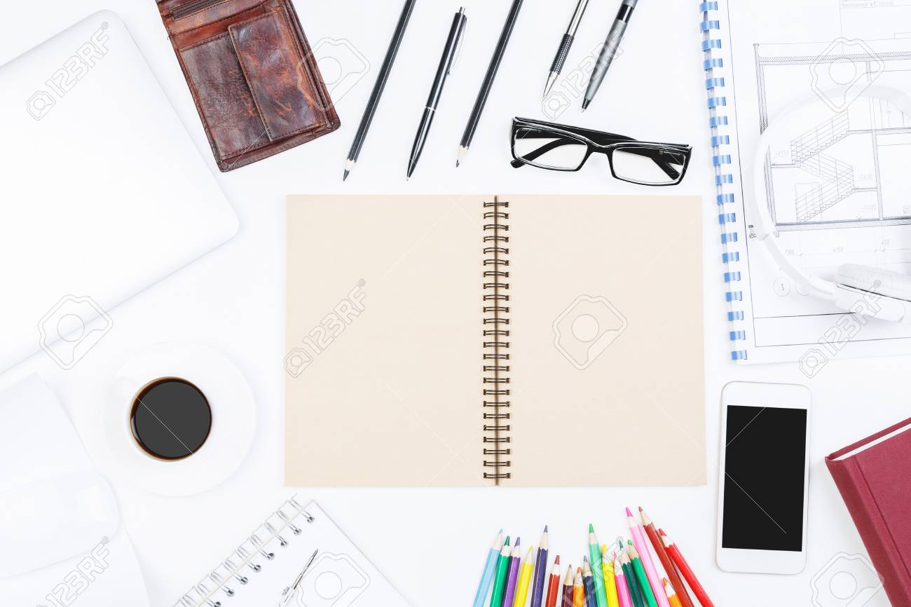 Top view of white office desktop with architectural sketch supplies stock photo top view of white office desktop with architectural sketch supplies and other items blueprint and tabletop concept mock up malvernweather Image collections