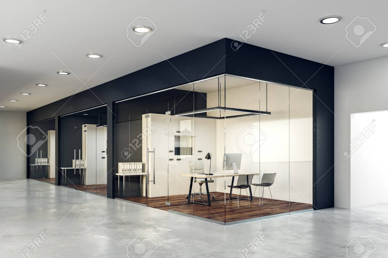 Contemporary glass office Cubicles Modern Contemporary Glass Office Interior Design And Style Concept 3d Rendering Stock Photo 95656943 123rfcom Contemporary Glass Office Interior Design And Style Concept