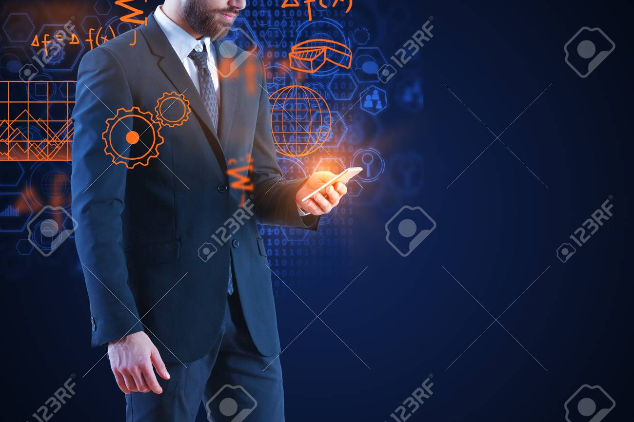 Businessman using smartphone with abstract glowing business hologram. Innovation and finance concept. Double exposure - 96133519