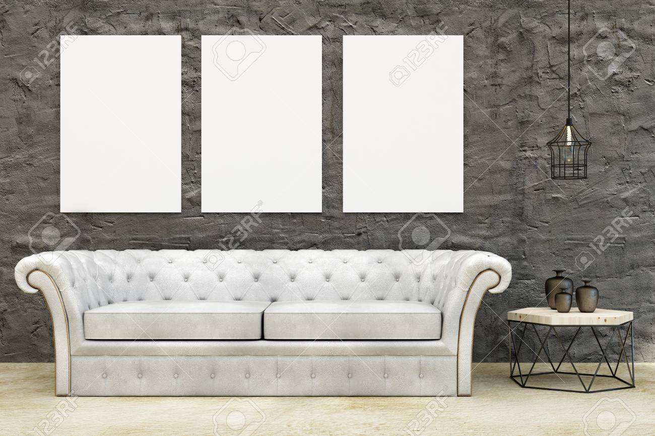 Modern living room interior with leather couch, small tablet..