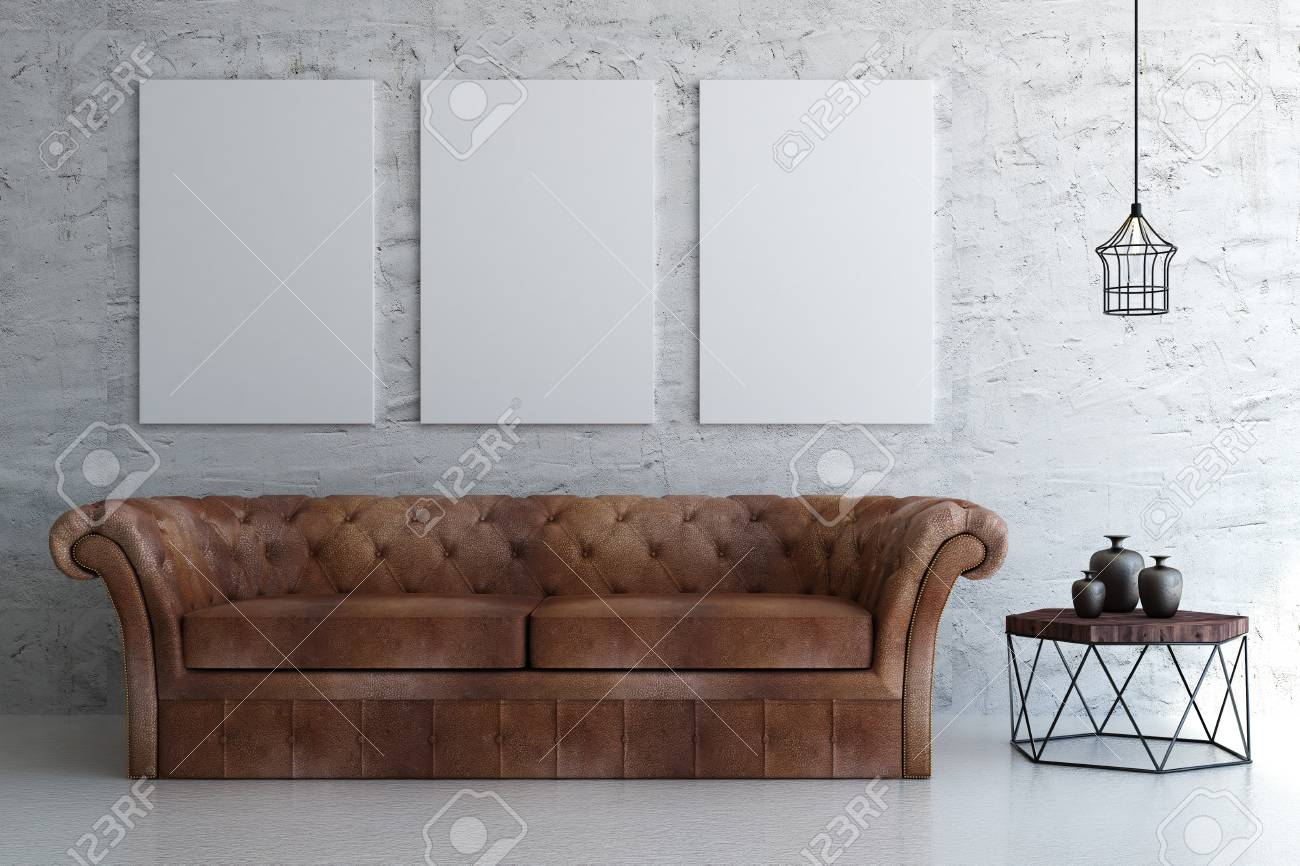 Bright living room interior with leather couch, small tablet..