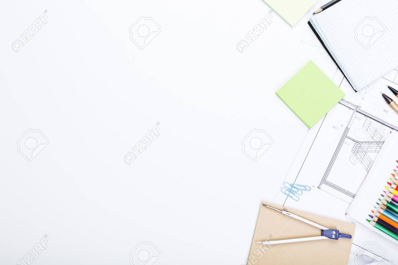 Top view of white office desktop with architectural sketch supplies stock photo top view of white office desktop with architectural sketch supplies and other items blueprint and plan concept mock up malvernweather Gallery