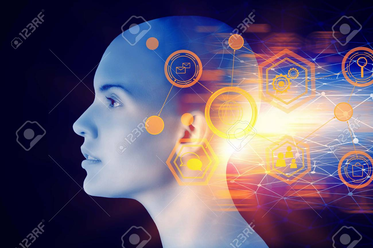 Female cyborg head with abstract digital interface. Artificial intelligence and future concept. Double exposure - 96137234