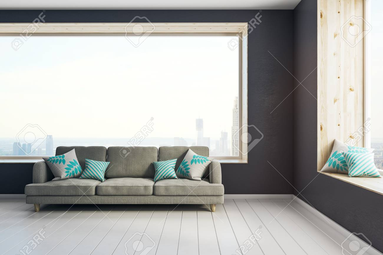 Surprising Bright Living Room Interior With Couch Pillows Panoramic City Unemploymentrelief Wooden Chair Designs For Living Room Unemploymentrelieforg