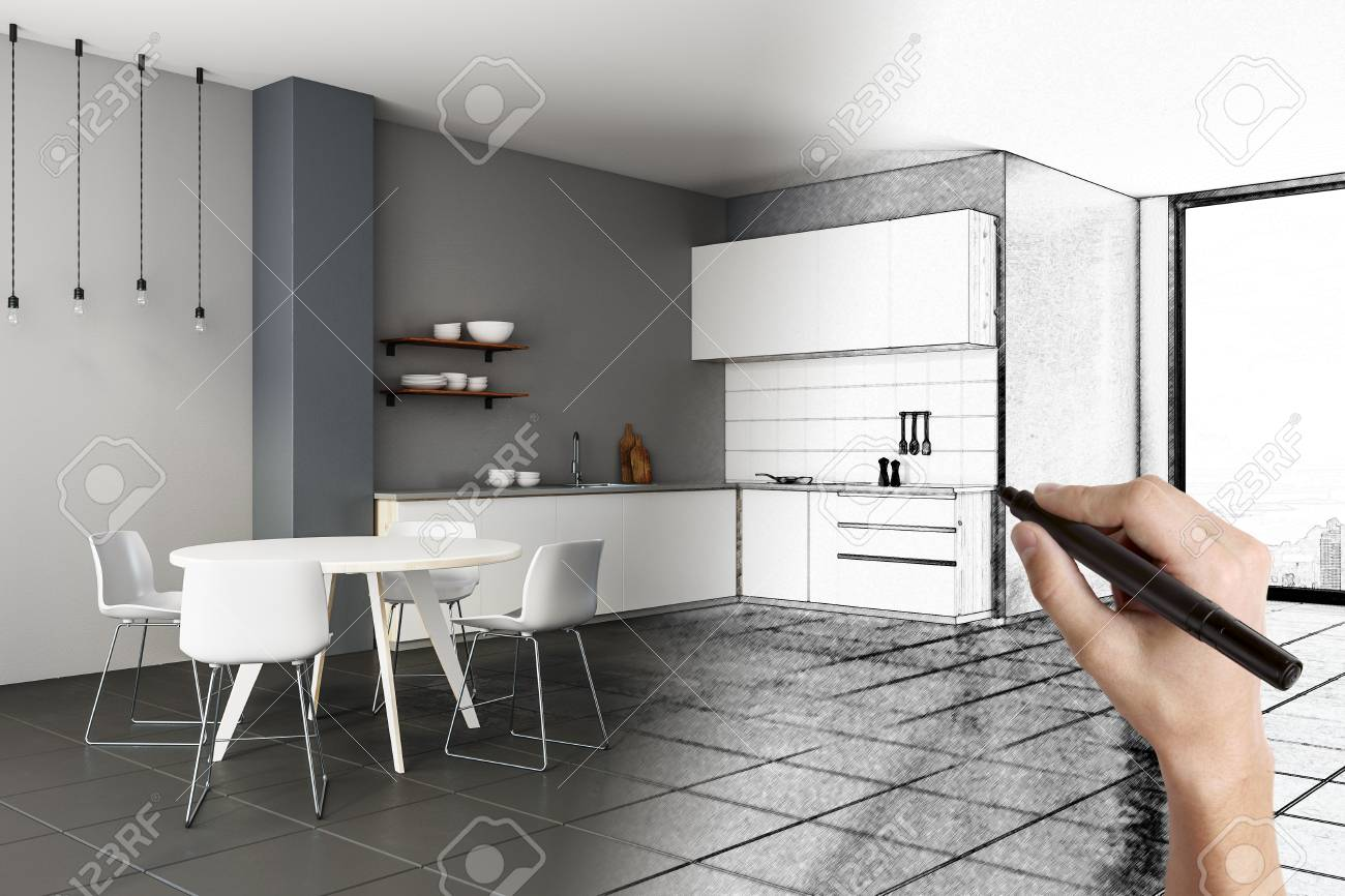 Hand Drawing Creative Kitchen Interior Design And Engineering Stock Photo Picture And Royalty Free Image Image 96652972