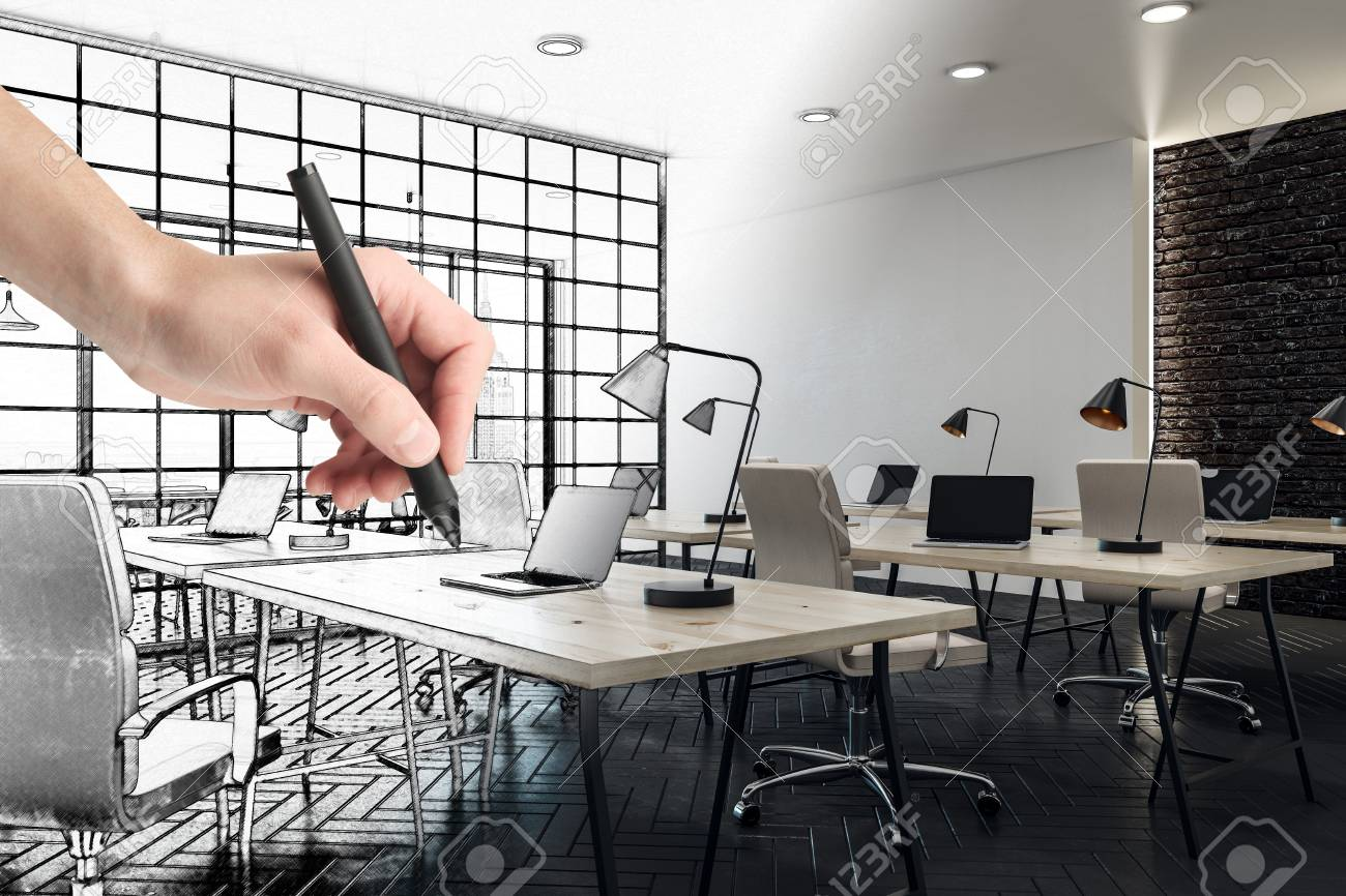 Hand Drawing Modern Coworking Office Interior Design And Engineering