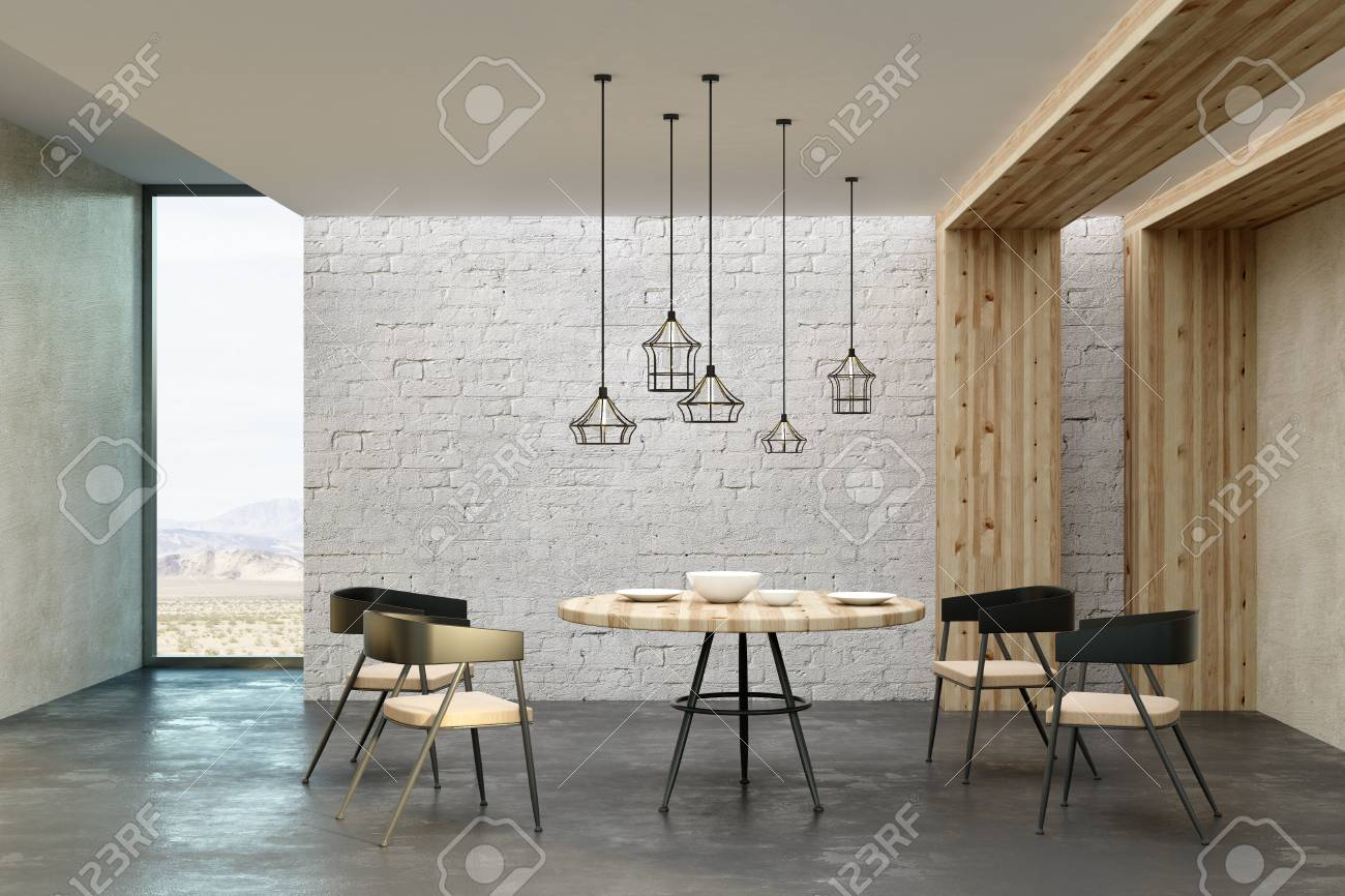 New Living Room Interior With Decorative Ceiling Lamps, Dining ...