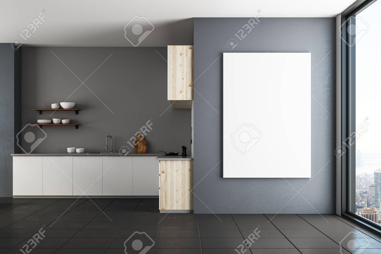 Modern Luxury Kitchen Interior With Empty Banner On Wall Mock