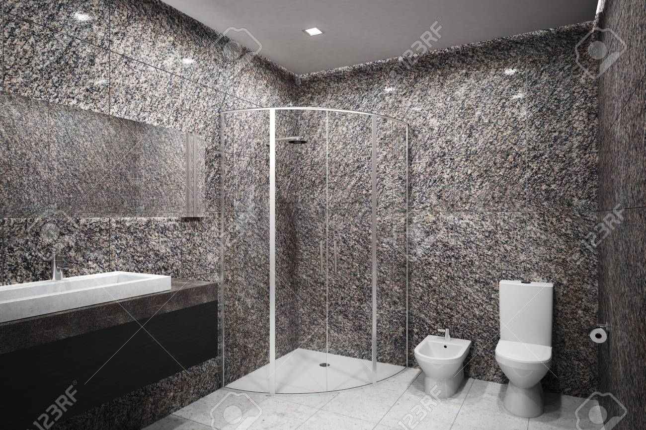 new concrete bathroom interior design and hotel concept 3d rendering stock photo 96663993