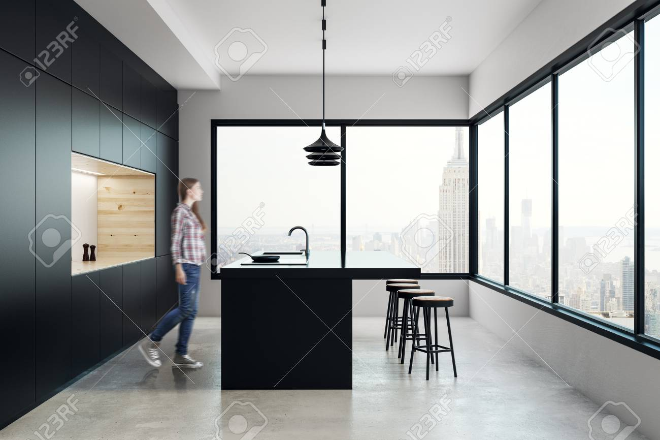 Blurry Young Woman Walking In Creative Kitchen Interior With.. Stock ...