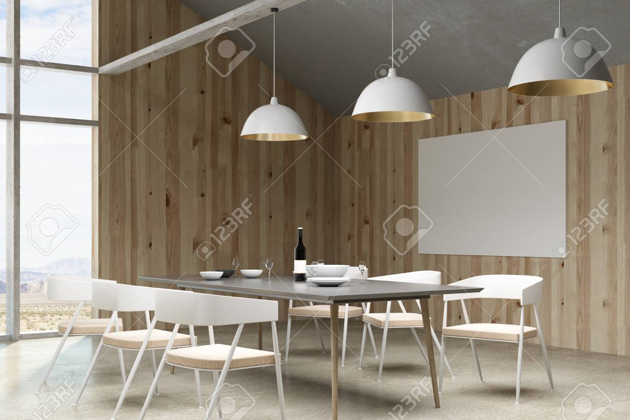 contemporary loft furniture. Contemporary Loft Living Room/ Restaurant Interior With Furniture, Landscape View And Empty Billboard. Furniture