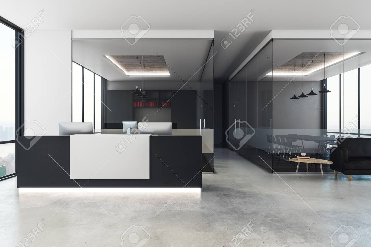 Contemporary office reception Interior Modern Office Interior With Reception Desk City View And Daylight 3d Rendering Stock Photo 123rfcom Modern Office Interior With Reception Desk City View And Daylight