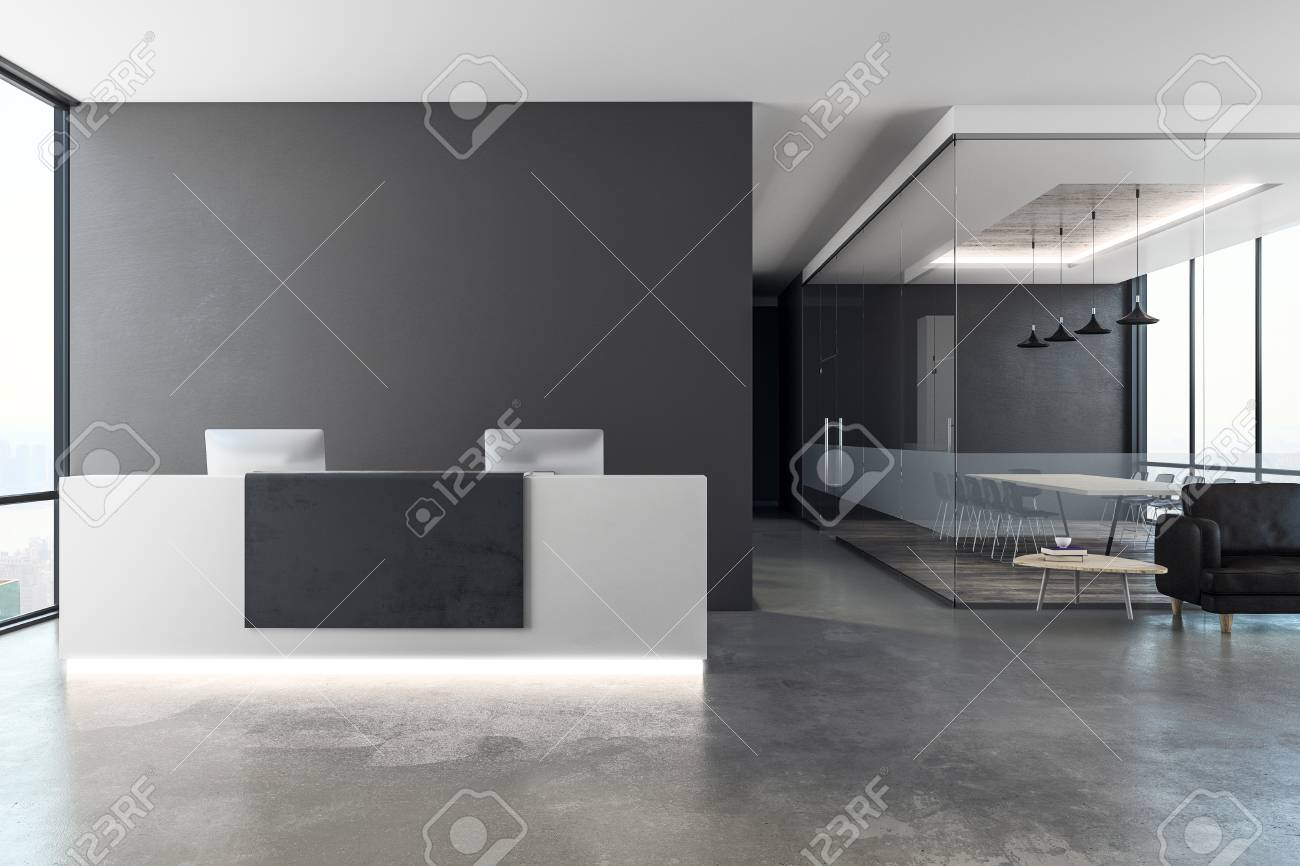 Contemporary office interior with reception desk and copy space on wall. Mock up, 3D Rendering - 97531436