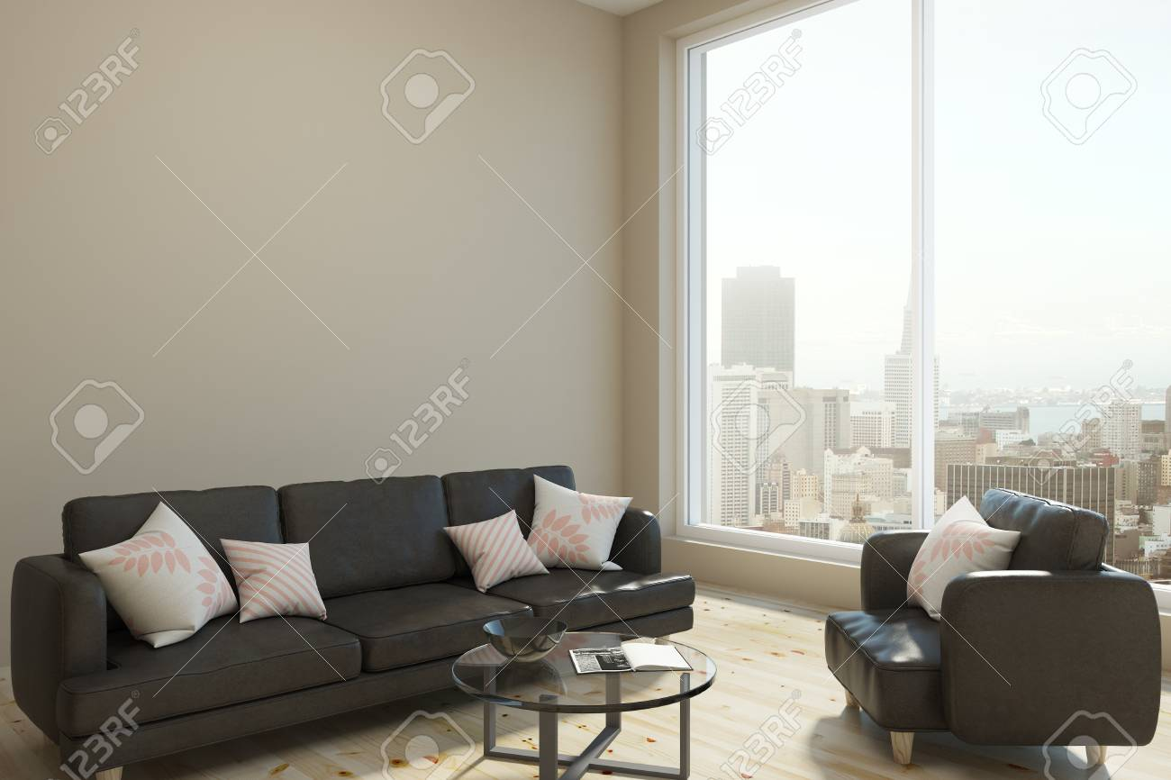 Contemporary Living Room Interior With Panoramic City View, Daylight ...