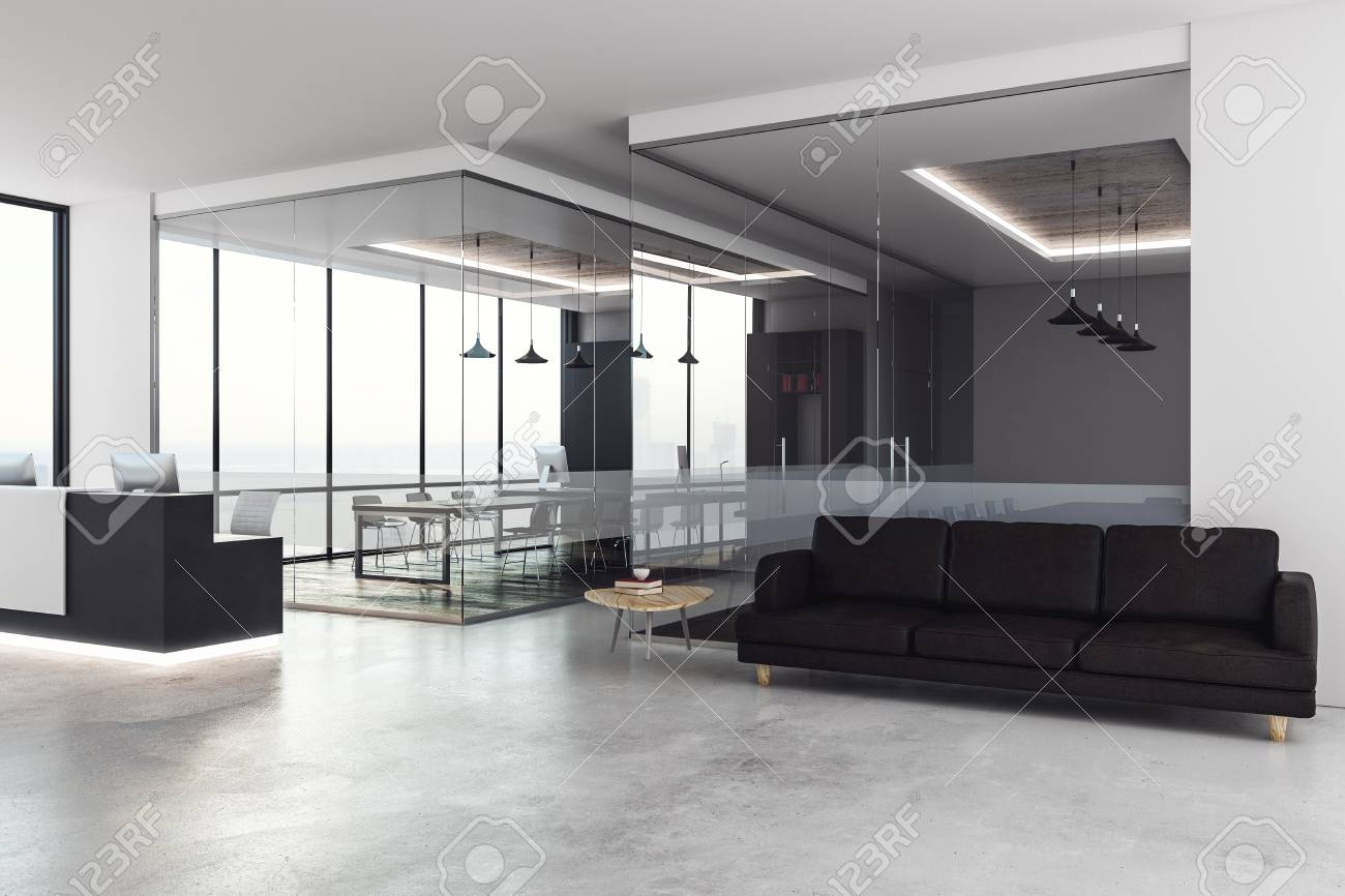 office reception interior. Concrete Office Interior With Reception Desk, City View And Daylight. 3D Rendering Stock Photo S