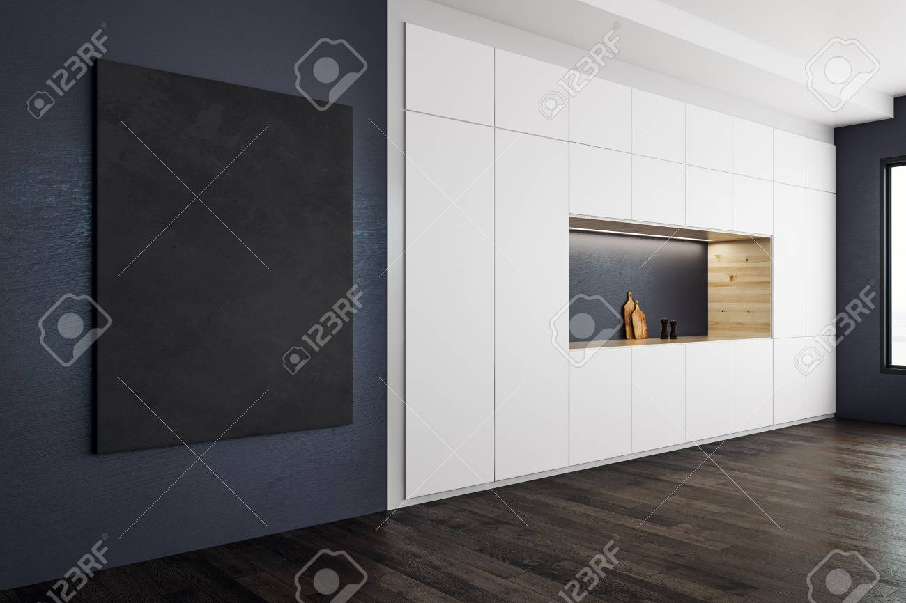 Modern Kitchen Interior With Blank Banner On Wall Style And Stock