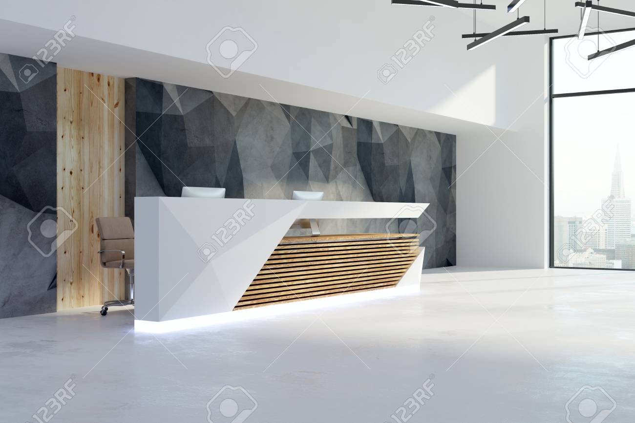 Side view of contemporary office interior with reception desk and city view. 3D Rendering - 97921483