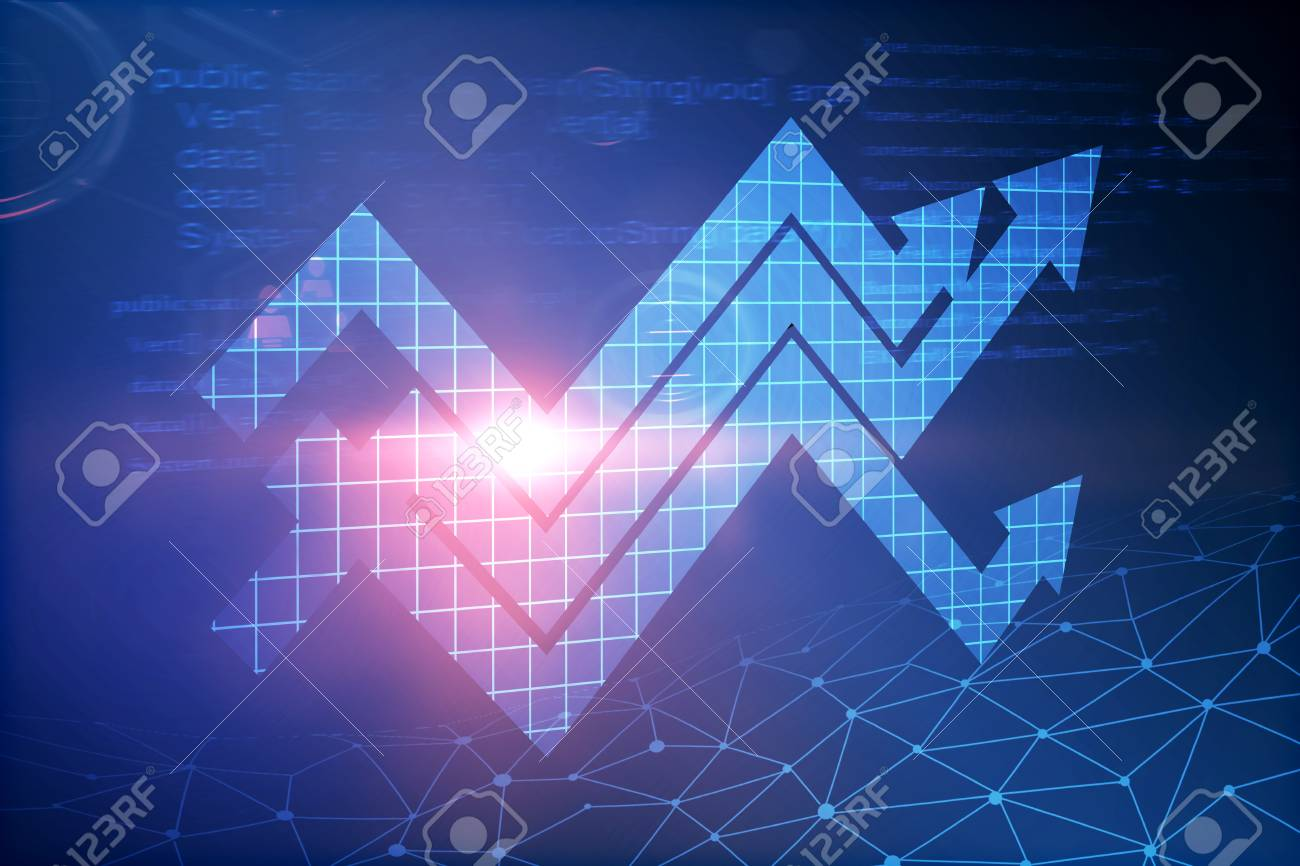 Creative Glowing Digital Arrow Wallpaper Finance And Growth Concept 3D Rendering Stock Photo