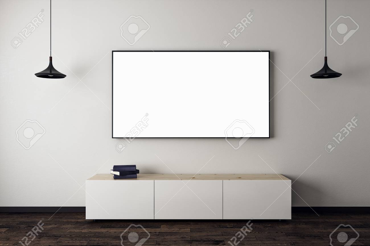 New Living Room Interior With Empty Tv Screen And Furniture Stock Photo Picture And Royalty Free Image Image 97959929
