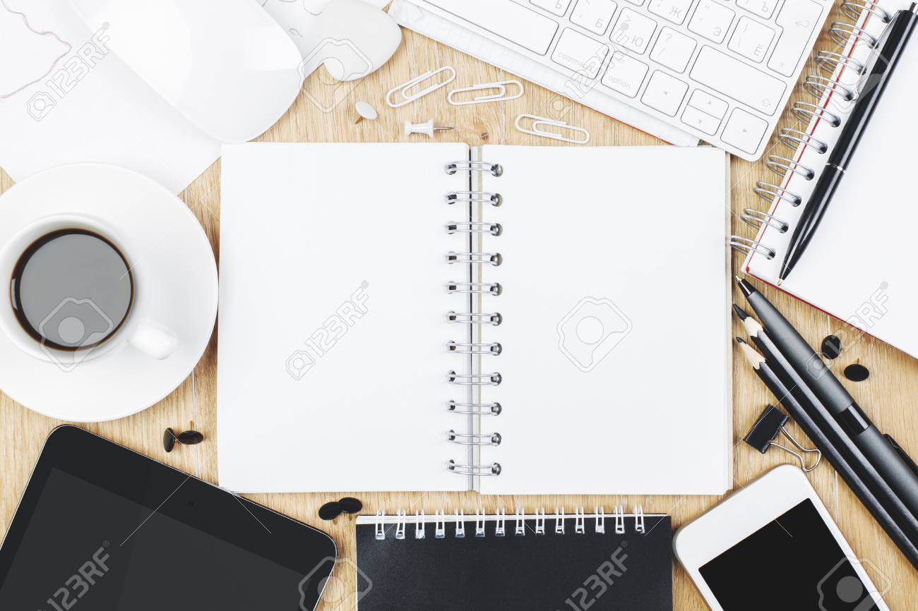 office table top view. Perfect View Foto De Archivo  Top View Of Wooden Office Table Top With Supplies And  Copy Space Design Work Place Concept Mock Up In Office Table View N