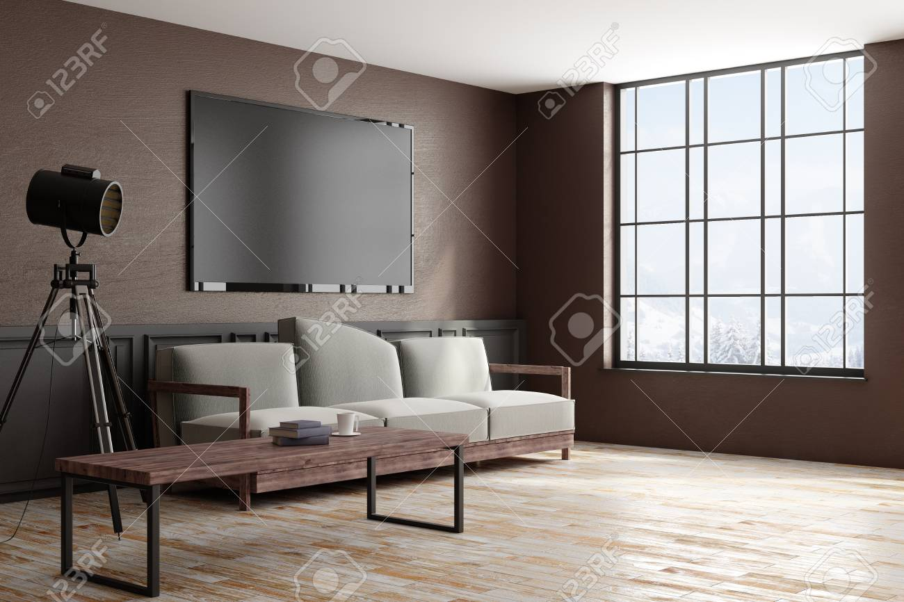 Side view of modern design style living room interior with furniture blank tv frame on