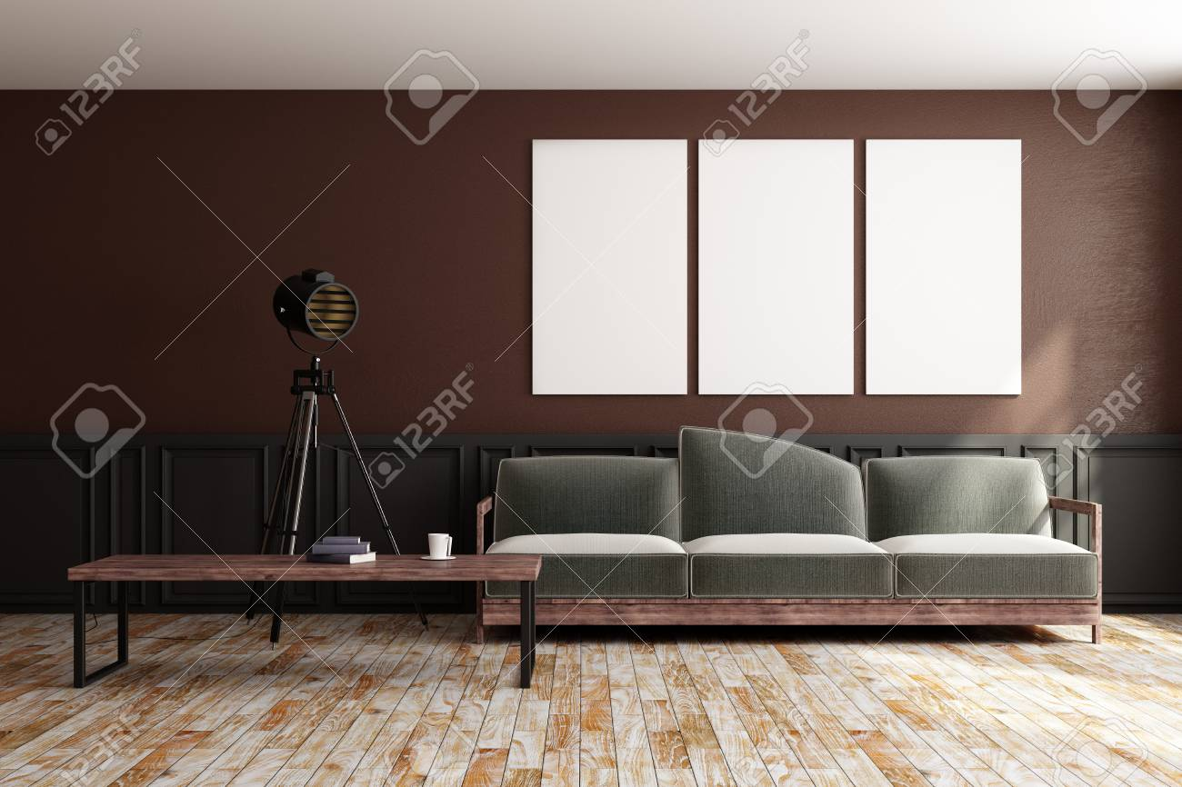 Front view of modern design living room interior with furniture..